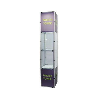 "81.1"" Square Portable Aluminum Spiral Tower Display Case with Shelves, Top light and Custom Panels"