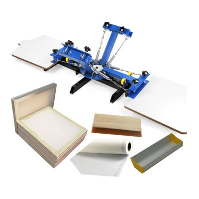 US Stock, CALCA 4 Color 2 Station Silk Screen Printing Press, with 6 Pack Aluminum Screen with 110 White Mesh