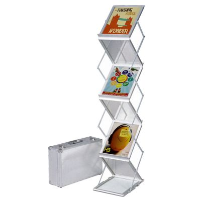 Foldable Literature Holder for Trade Show, Portable Literature Floor Stand with Hard Silver Case, Adjustable, 2-Sided