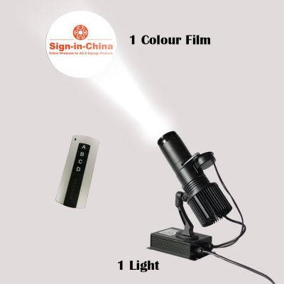 40W Indoor Black Remote Control LED Gobo Projector Advertising Logo Light (with Custom 1 Color Rotating Glass Gobos)