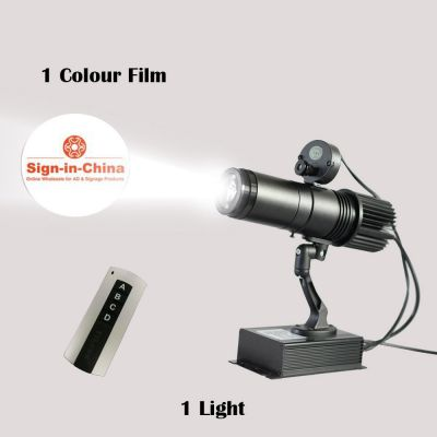 20W Indoor Black Remote Control LED Gobo Projector Advertising Logo Light (with Custom Rotating Glass Gobos)