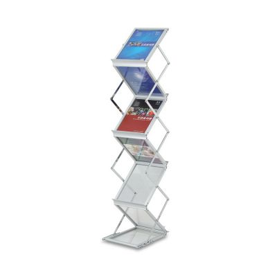 Foldable Literature Holder for Trade Show, Portable Literature Floor Stand, Adjustable, 2-Side