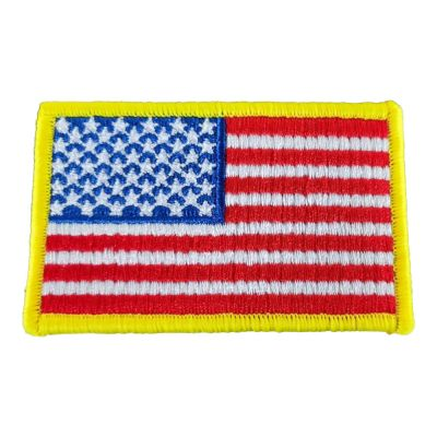 "US Stock-12PCS American Flag Yellow Border Embroidery Iron on Sew on Tactical Patch 3.35"" x 2"""