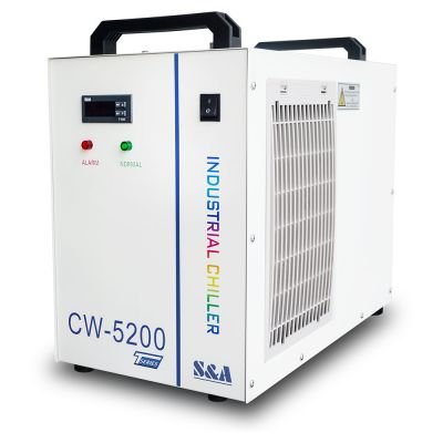 BEL Stock, S&A CW-5200TH Industrial Water Chiller (AC 1P 220V 50Hz) for a Single 8KW Spindle / Welding Machine / One 130-150W CO2 Glass Laser Tube Cooling, 0.71HP