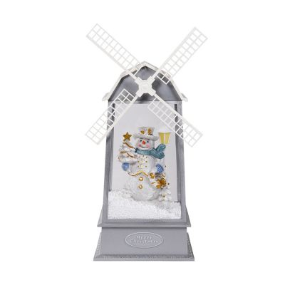 Snowing Christmas Windmill Lantern with Christmas Music, Lighting and Santa Clause